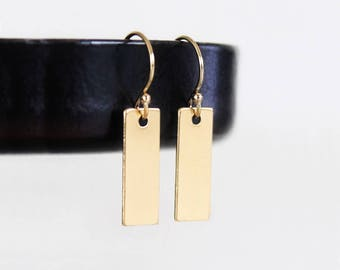 Tiny Gold Bar Earrings, Simple Earrings, Geometric Minimalist Earrings, Gold Filled Tiny Bar Earrings, Small Rectangles, Hammered or Smooth
