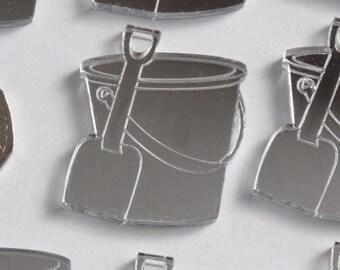 Seaside Beach Bucket & Spade Mini Craft Sized Acrylic Mirrors (10Pk)