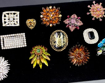 Excellent Variety of 12 Vintage Costume Jewelry Brooches - Pristine Condition