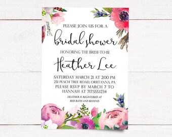 Floral Bridal Shower Invitation   Printable
