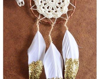 Mini Dreamcatcher, small dream catcher gold feathers, Glitter, Car dreamcatcher, Boho Dreamcatcher, Bohemian, Floral