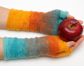 Winter Gloves Knit Fingerless Gloves Fingerless mittens Arm Warmers Girlfriend Gift for Her Womens gift ideas Grey Gloves Coworker gift