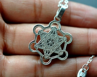 Metatron's Cube necklace Sterling Silver 925. Sacred geometry mens jewelry, womens jewelry
