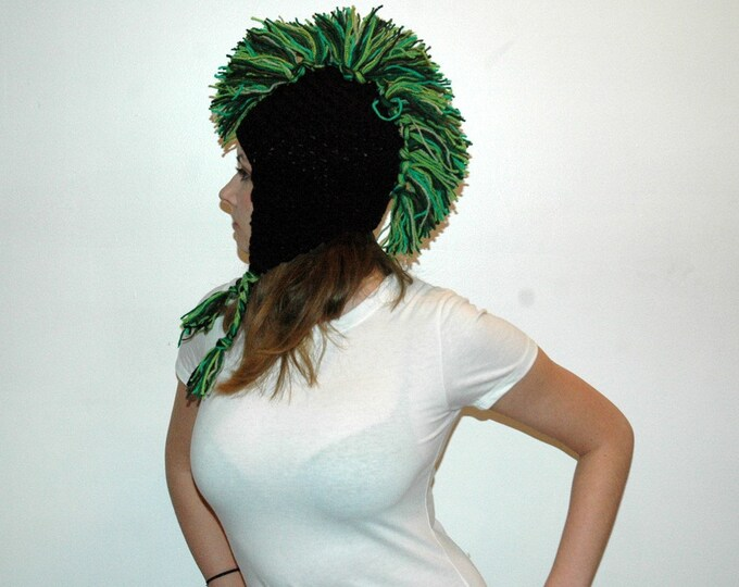 Green and Black Mohawk  Ear Flap Hat Handmade Christmas Gift Ready to ship