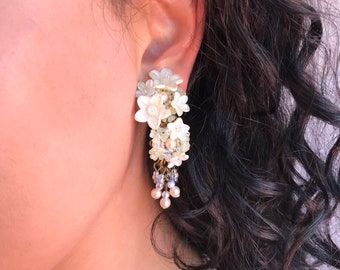 PRETTY FLORAL BEADED Earring by Vintage Jewellery Designer Colleen Toland