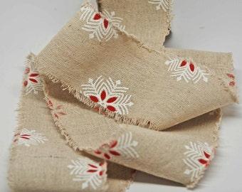 Cotton Blend Burlap Ribbon 2.5 inch -- Snowflake Print -- Wide Burlap -- 2 yards