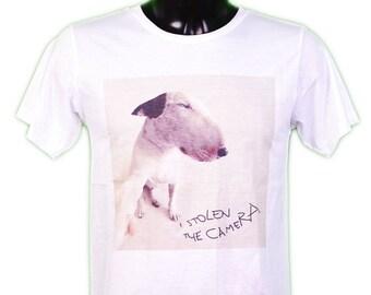 SEFIE Dog T-SHIRT - bull terrier - dog - white - humor selfie funny t-shirt sizes s-m-l-xl whithe men / / gl boutik