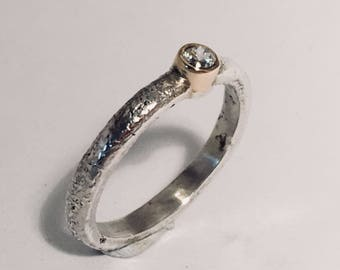 Silver, Gold and Diamond Engagement Ring, 9ct gold ring, diamond ring, unusual engagement ring.