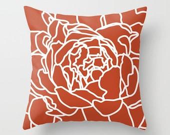 Modern Flower Pillow with insert - Burnt orange Flower Pillow - Rust color Flower Pillow - Modern Flower Pillow - Designer Home Decor -