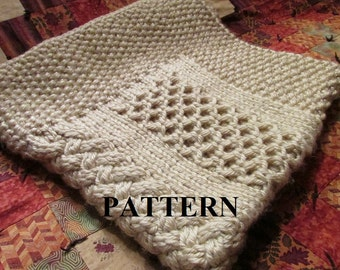 Knitting Pattern Blanket, Knitting Pattern, Honeycomb Basket Weave, Cable Knit, Chunky Yarn, Knitting Chart Included, *INSTANT DOWNLOAD*