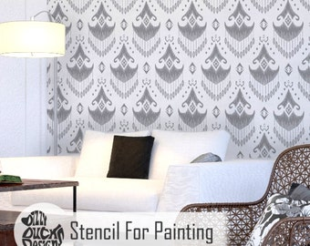 MAPUCHA STENCIL - Tribal Bohemian Wall Furniture Craft Stencil for Painting - MAPU01