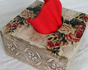Napkin holder, Napkin box, Napkins 15x15 box, Square box napkin, Wooden box for napkins, Box with roses, Box with flowers, Decopauge