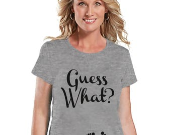 Pregnancy Announcement Shirt - Guess What? Pregnancy Shirt - Funny Pregnancy Reveal Shirt - Grey T-shirt - Pregnancy Announcement Shirt