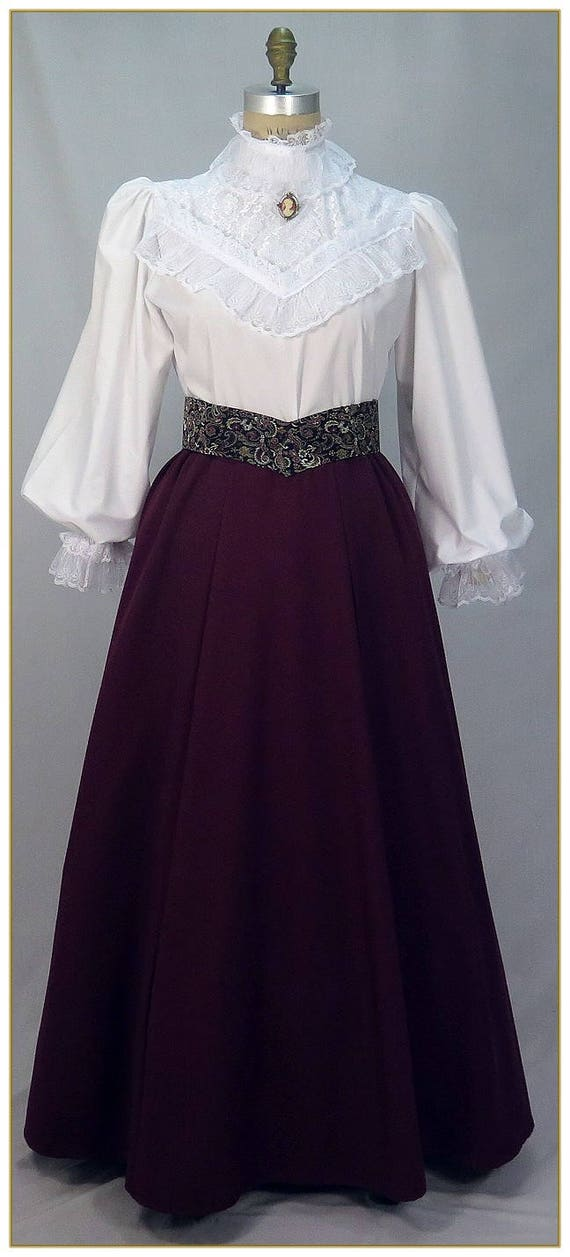 Victorian Skirts | Bustle, Walking, Edwardian Skirts Victorian Gabardine Skirt Dark Violet. Made to your choice of waist size and finished length. $65.00 AT vintagedancer.com