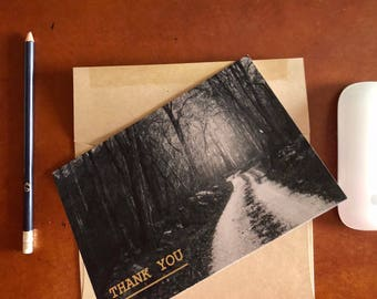 Premium Thank You Card, Fine Art Card, Note Card, 5 x 7, Blank Inside, Black and White Photograph Card, Kraft Paper Envelope