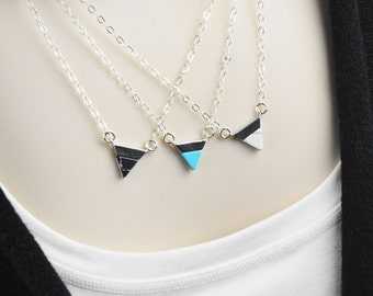 Silver Pendant Necklace - Gemstone Necklace - Dainty Jewelry - Triangle Necklace - Minimalist Jewelry for Mom - Mother Gift from Daughter