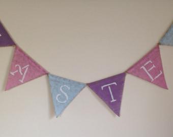 Easter Banner-Painted Burlap Easter Banner-Pastel Spring Banner-Free Shipping