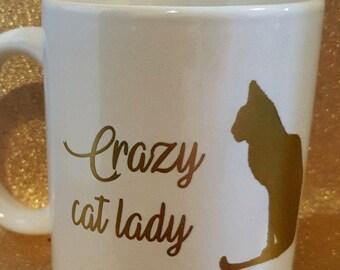 crazy cat lady metallic gold mug