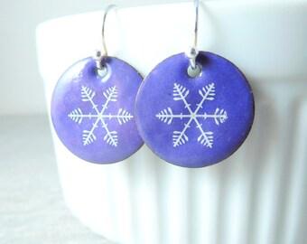 Snowflake Earrings, Purple White Enamel Dangle Earrings, Christmas Earrings, Winter Snow Earrings, Holiday Jewelry Simple Everyday Rustic