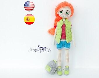 Pattern Doll Summer, amigurumi crochet doll, crochet doll pattern, amugurumi pattern, pdf pattern