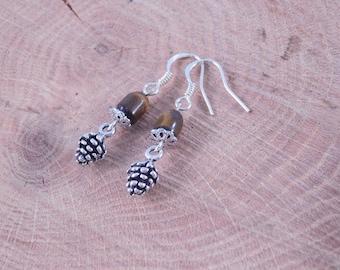 Acorn Earrings - Dangle Earrings - Fall Jewelry - Autumn Gift - Gift for Her - Handmade - Jewelry