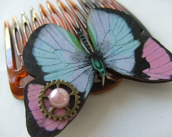 Butterfly, Steampunk, cybergoth, wooden butterfly, pink, lilac, black, mint green, comb, hair slide, by NewellsJewels on etsy