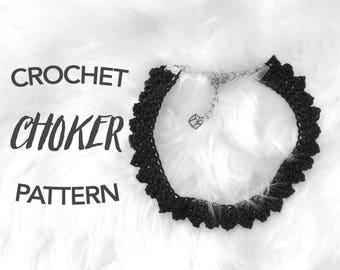 crochet choker pattern, crochet necklace pattern, crochet choker, crochet necklace, instant pdf download, digital pattern, THE PENNY CHOKER