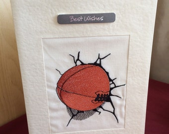 Male birthday card with rugby ball great design for any sports fan dad teen boy