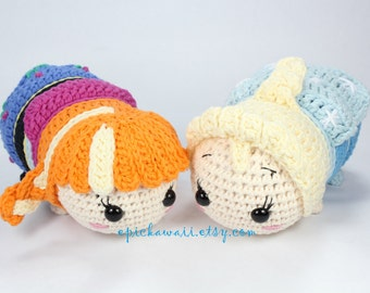 PATTERN 2-PACK: Anna and Elsa Tsum Tsum Crochet Amigurumi Dolls