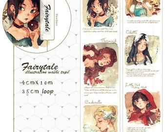 Fairytale Washi Tape Sample,  Fairytale Stories Original Washi Sampler, Little Red, Cinderella, Little Mermaid