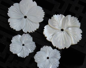 10pcs White Carved Mother of Pearl Shell Flowers   - natural mother of pearl beads - MOP beads for jewelry design(BK1022)