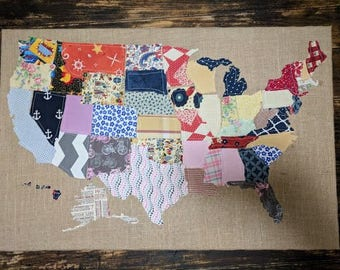 Cork board usa map etsy usa quilted map cork board gumiabroncs Image collections