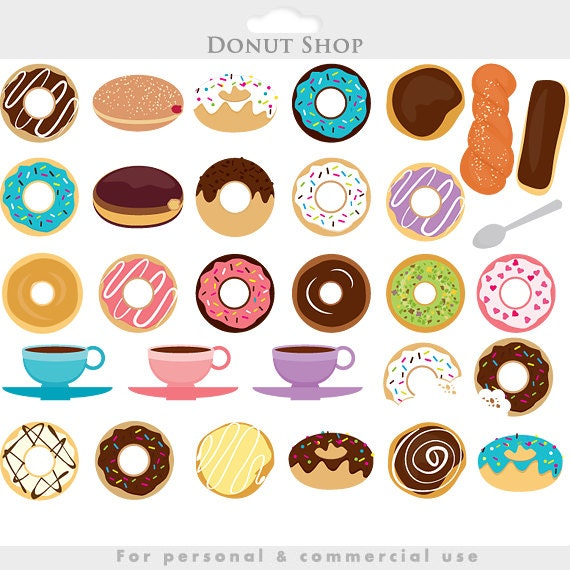Coffee and donuts clipart - doughnut clip art, sprinkles ...