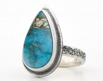 Turquoise Ring, Ithaca Peak Turquoise, Sterling Silver, Blue Turquoise, Turquoise Jewelry, Pyrite Turquoise, Handmade Ring, Kingman Turquois