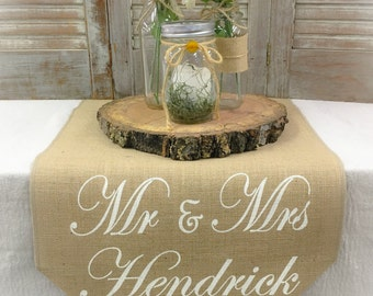 Burlap Table Runner with monogram on 1 end sweetheart table Sweetheart runner Wedding runner Wedding gift