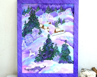 """picture batik panels """"bunny trails"""", gift Christmas, gift ideas, winter picture, panels on natural silk hand-painted author. Size 13""""- 17""""."""