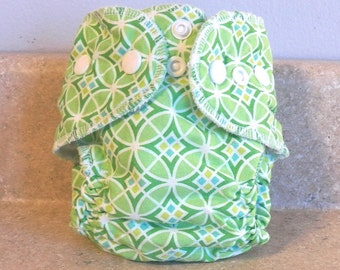Fitted Preemie Newborn Cloth Diaper- 4 to 9 pounds- Green Geometric- 16049