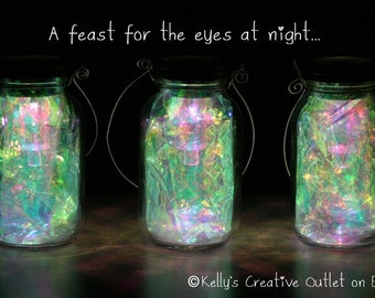 Mason Jar Solar Lights/Fairy Lanterns Fully Assembled With Fitted Handles  To Hang Them From