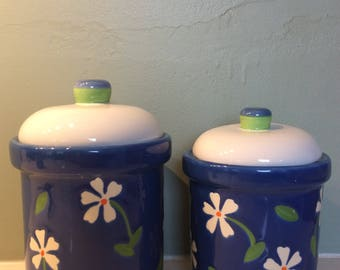 Vintage Lillian Vernon floral ceramic canisters (Set of 2)