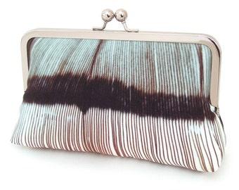 Feather stripe clutch bag, silk purse, wedding, bridesmaid gift