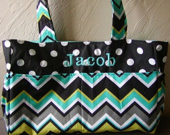 Diaper bag, handbag, purse, book bag..Lagoon Chevron N Black Dot..Add end pocket. Customize to match carseat canopy(see fashionfairytales).