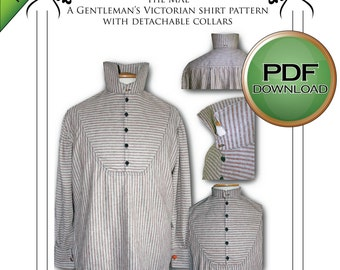 Mens Victorian Digital download Shirt Sewing pattern. Instant Full Sized Print at Home. USA letter / A4 paper, PDF