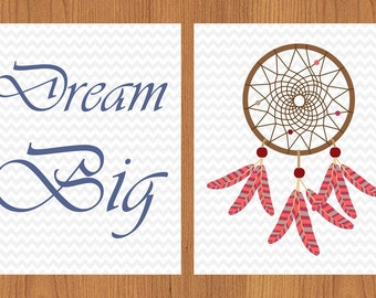 Dream Big Coral Blue Grey Chevron Dream Catcher Nursery Decor Gender Neutral Room Decor 8x10 Matte Finish Set of 2  (85)