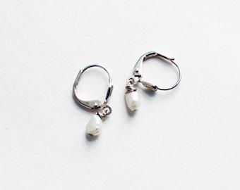 Delicate Earrings Tiny Pearl Earrings Petite Earrings Pearl Dangles Girls Earrings Silver Earrings Fresh Water Pearl Earrings Minimal Simple