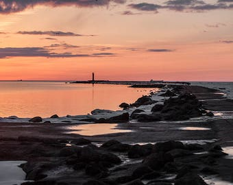Lighthouse. Romantic sunrise in seaside postcards for Postcrossing - Fine Art Photograph