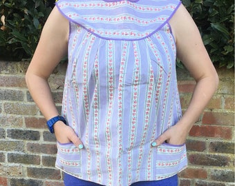 NEW! Vintage 1960s 1970s women's Smock Pinny Apron Pinafore tunic top, Lilac stripe rose print, UK Size 14 16 , US 10 12, ex factory stock