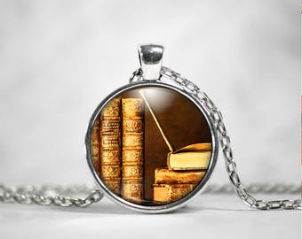 Book Necklace - Book Pendant - Book Lover Gift - Book Jewelry - LIbrarian Gift - Teacher Gift - Literary Gift - Antique Book - Bookworm Gift