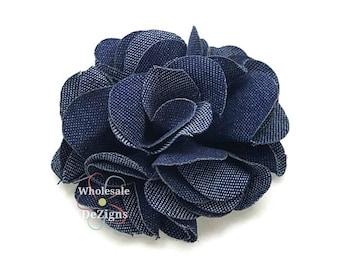 """Soft Denim Flower - Rosette Navy Blue  - Shabby Chic 3"""" Full and Fluffy - DIY Headband Hair Clip - 3 inch Large"""