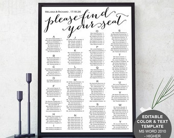 Rustic, wedding seating chart, seating chart template, printable, poster, sign, instant download, seating plan, S3