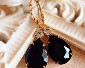 Black and White Earrings - Crystal Earrings - Bridesmaid Jewelry - MAYFAIR Black Tie